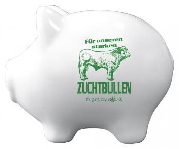 Keramik Sparschwein - Für unseren starken Zuchtbullen - 22228