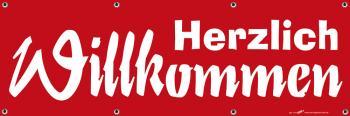 Banner Werbebanner - Herzlich Willkommen - 3x1m - Spannband - 309967