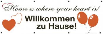 Banner Werbebanner - Willkommen zu Hause - 3x1m - Spannband für Ihren Werbeauftritt / Bedruckt mit Ihrem Motiv - 309985