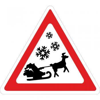 Hinweisschild - Achtung - Weihnachtsmann mit Schlitten - 320356 - Gr. ca. 33,5 x 29,5cm