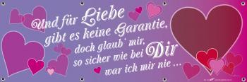 Banner Werbebanner - Und für Liebe gibt es keine Garantie - 3x1m - Spannband - 309992