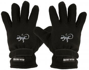 Handschuhe Fleece mit Einstickung Gecko Eidechse 56481 schwarz