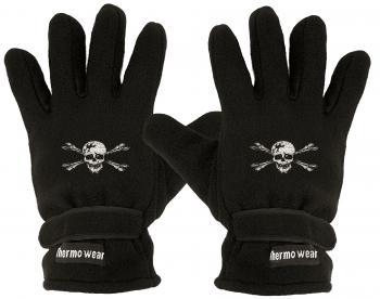 Fleece Handschuhe mit Einstickung - Totenkopf Skull - 56490 schwarz