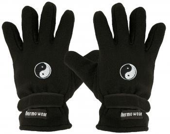 Handschuhe Fleece mit Einstickung YING YANG 56508 schwarz