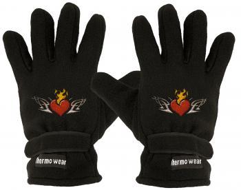 Handschuhe Fleece mit Einstickung flammendes Herz 56509 schwarz