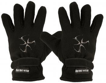 Handschuhe Fleece mit Einstickung Tribal Tattoo Kreisel 56511 schwarz