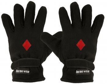 Handschuhe Fleece mit Einstickung rotes Karo 56516 schwarz