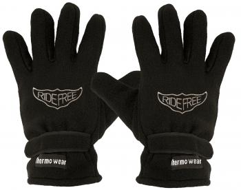 Fleece Handschuhe mit Einstickung - Ride free - 56519 schwarz