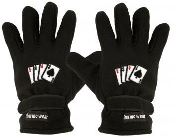 Fleece Handschuhe mit Einstickung - Kartenspiel 4 Asse - 56521 schwarz