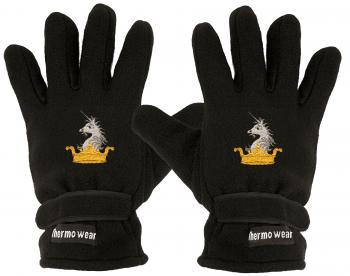 Handschuhe Fleece mit Einstickung Krone Einhorn Crown Unicorn 56526 schwarz