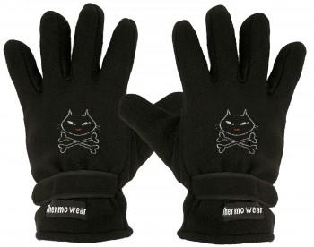 Handschuhe Fleece mit Einstickung KITTY BONES 56515 schwarz