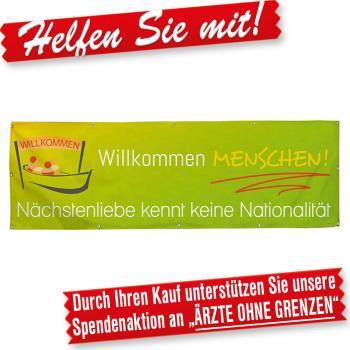 Banner Werbebanner – Willkommen Menschen! Nächstenliebe kennt keine Nationalität- 3x1m - Spannband für Ihren Werbeauftritt / Bedruckt mit Ihrem Motiv – 309967