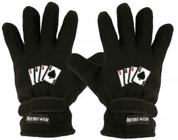 "(40385-56521) Fleece Handschuhe mit Einstickung ""KARTENSPIEL 4 ASSE"" Handschuhe"""