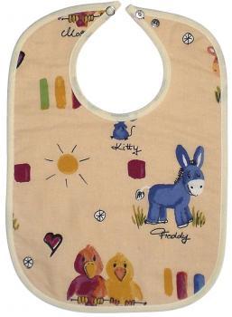 Baby Lätzchen - Allover-Tierdruck - 07040 - beige-bunt