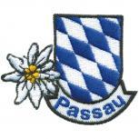 Aufnäher - PASSAU Edelweiss Blau - Weiss Rauten - 00058 - Gr. ca. 6,5cm x 6cm