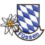 Aufnäher - Füssen - Edelweiss Rauten - 00880 - Gr. ca. 8,5 x 6cm