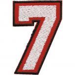 AUFNÄHER - ZAHL ZIFFER 7 (sieben) - Gr. ca. 4x6cm (01906) Stick Applikation Aufbügler Abzeichen Motivstick