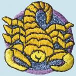 """Aufnäher Patches Applikation - Wappen - 02130 - Gr. ca.  3 x 3 cm """"Skorpion"""""""