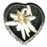 Anstecknadel - Metall - Pin - Herz - Edelweiß - 02666 - Gr. ca. 3 x 3 cm