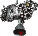 Anstecknadel - Metall - Pin - Almabtrieb - Kuh mit Glocke - 02676 - Gr. ca. 3,9 x 4,1 cm