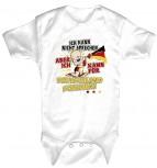 Babystrampler mit Print – Ich kann nicht sprechen. Aber dafür kann ich für Deutschland schreien - 08316 weiß – Gr. 0-24 Monate
