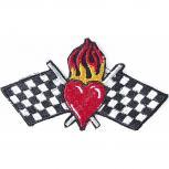 Aufnäher - Zielflagge mit Herz - 04737 - Gr. ca. 12,5  x 7,5cm - Patches Stick Applikation