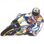Aufnäher - Motorradfahrer - 04812 - Gr. ca. 14 x 9 cm - Patches Stick Applikation