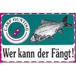 PVC Aufkleber Applikation Fisch - Fische - Angeln - WER KANN DER FÄNGT - 307130 - Gr. ca.  12 x 7,5 cm