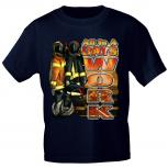 T-Shirt mit Print - Feuerwehr - All in a Days Work - marine - 10586 - Gr. S-XXL