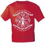 T-Shirt mit Vorder- und Rückenprint - Feuerwehr Symbol - 09856 rot - Gr. S-XXL