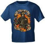 T-Shirt mit Print - Firefighter American Hero - 10587 blau - Gr. S-XXL