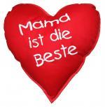 Herzkissen - Mama ist die Beste - Deko-Kissen ca. 36 cm Herz - Herzkissen