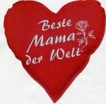 Herzkissen - Beste Mama der Welt - Deko-Kissen ca. 36 cm Herz - 11403 - Herzkissen