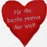Herzkissen - Für die beste Mama der Welt - Deko-Kissen ca. 36 cm Herz - 11404 - Herzkissen
