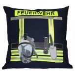 Kissen mit Print - Feuerwehr - ca. 40 x 40 cm - 11611 - Dekokissen Autokissen