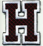Aufnäher Patches - Buchstabe H - Gr. ca. 6cm x 4cm - 21738 schwarz-weiß