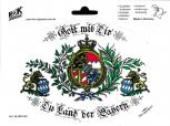 "Auto-Aufkleber Stick Applikation Emblem Aufkleber ""Bayern Gott mit Dir..."" NEU Gr. ca. 17,5 x 12cm (301443) Wappen Landeszeichen Flagge"