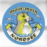 (301492) Auto-Aufkleber rund mit Spiegelfolie - moin-moin NORDSEE - Gr. ca. 7.5cm - Aufkleber Emblem Stick