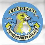 """Auto-Aufkleber Stick Applikation Emblem Aufkleber rund mit Spiegelfolie """"moin-moin TIMMENDORFER STRAND"""" NEU Gr. ca. 7.5cm (301496)"""