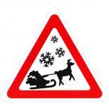 Schild Hinweisschild Vorsicht Weihnachtsmann mit Schlitten 308858/1 Gr. ca. 29,5cm x 34cm