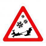 Schild Hinweisschild Vorsicht Weihnachtsmann auf Ski 308859/1 Gr. ca. 29,5cm x 34cm