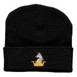Hip-Hop Mütze mit Einstickung - Krone Einhorn- (56526) Wollmütze Wintermütze Skimütze Strickmütze