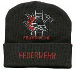 (54080) Hip Hop Mütze, Strickmütze, Mütze mit Einstickung - Feuerwehr -