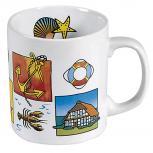 Keramiktasse mit Print Nordsee Maritim Streumuster 57194 weiss