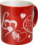 """(57464) Kaffeetasse Keramiktasse mit Druck """"LOVE HERZEN ENGEL"""" NEU Valentinstag"""