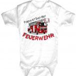 Babystrampler mit Print – Papa ist bei der Feuerwehr – 08486 weiß - 0-24 Monate