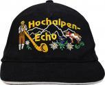 Baumwollcap mit Stick - Hochalpen Echo - 68163 schwarz - Cap Kappe Baseballcap