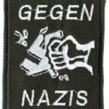 AUFNÄHER - Gegen Nazis - 06111 - Gr. ca. 5 x 6,5 cm - Patches Stick Applikation Bügel-Emblem