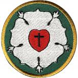 Aufnäher  - Luther-Rose - 01875 - Gr. ca. 7,5 cm Durchmesser - Patches Stick Applikation Bügel-Emblem