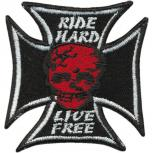 AUFNÄHER - RIDE HARD LIVE FREE - 00897 - Gr. ca. 5,5 x 4,5 cm - Patches Stick Applikation